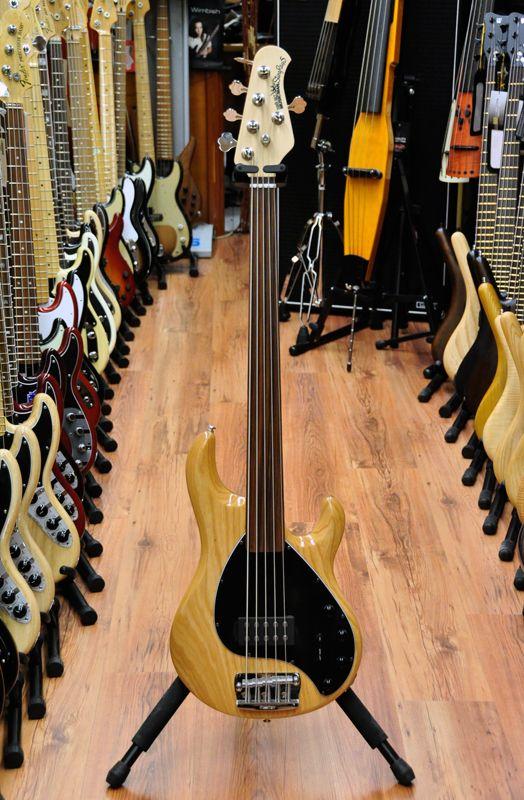a Fretless Musicman Bass